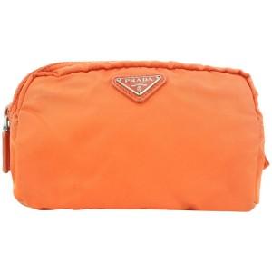 Prada Orange Tessuto Nylon Cosmetic Pouch Make Up bag 6pr113