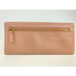 Prada Pink Saffiano Leather Bow Flap Wallet 22PRL1125