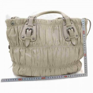 Prada Quilted Hand with Strap 2way 872997 Beiges Leather Tote