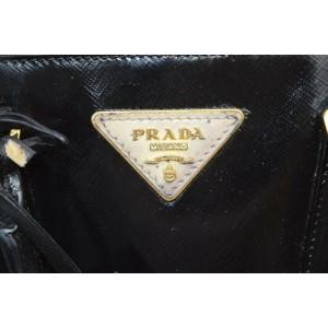 Prada Black Patent Saffiano Leather Mini Luxe 2way Tote 862349