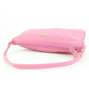 Prada Pink Tessuto Nylon Mini Baguette Wristlet Shoulder Bag 2pr113