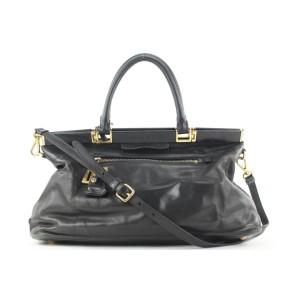 Prada Black Leather Top Handle 2way Shoulder Bag 48pr125