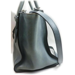 Prada Grey-Blue Leather 2way Tote Bag with Strap  862026