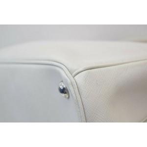 Prada Small White Saffiano Leather Luxe 2way Tote Bag 862499