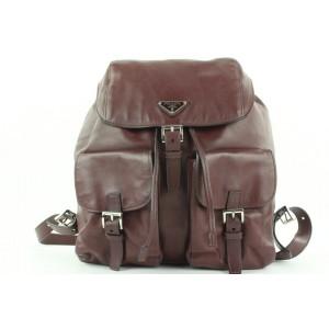 Prada Burgundy Leather Twin Pocket Backpack 862816