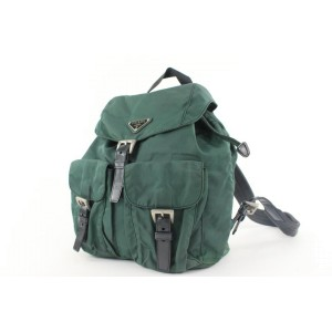 Prada Green Tessuto Nylon Twin Pocket Backpack 26pr422