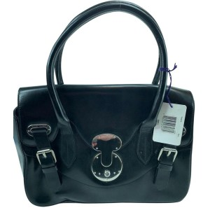 Ralph Lauren 872172 The Ricky Black Leather Satchel