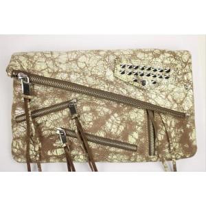 Rebecca Minkoff Harper Snakeskin Msml13 Silver Brown Cross Body Bag