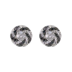 Oliva 18K White Gold Black & White Diamond Swirl Round Stud Earrings Omega