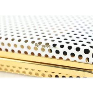 Reece Hudson Gold x White Perforated Metal Kisslock Minaudiere Clutch Bag 72rh426