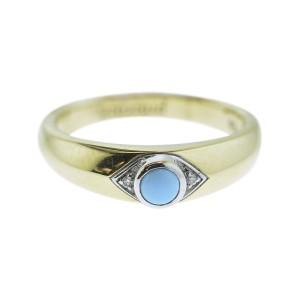 Monica Rich Kosann Yellow Gold Evil Eye Posey Ring With Bezel Set Turquoise .05carats