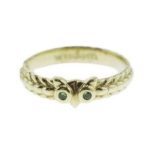 Monica Rich Kosann Yellow Gold Owl Posey Ring Green Tsavorite Eyes