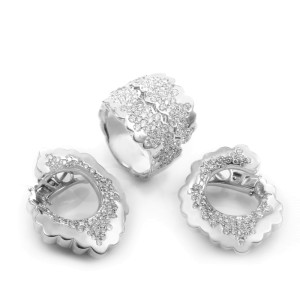 18K White Gold Diamond Earring & Ring Set