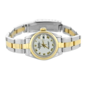 Rolex 26mm White Dial Two-Tone Datejust Womens Watch 69173