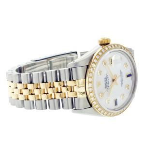 Rolex Datejust 16013 36mm MOP Sapphire Diamond Two Tone Watch