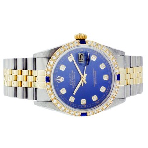 Rolex Datejust 16013 36mm Blue Diamond Sapphire Two-Tone Watch