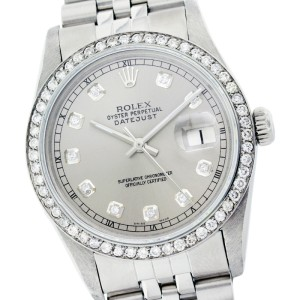 Rolex Datejust 16014 36mm Silver Diamond Stainless Steel Watch