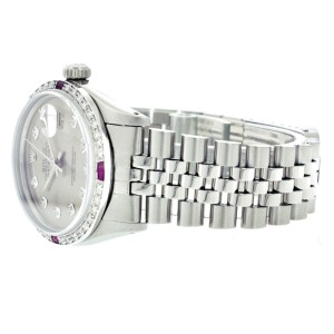 Rolex Mens Datejust Stainless Steel Silver Diamond Dial & Ruby 36mm Watch