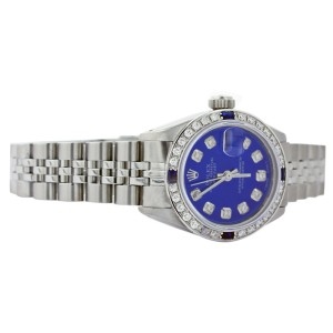 Rolex Datejust 6917 Stainless Steel Blue Dial Diamond & Sapphire 26mm Womens Watch