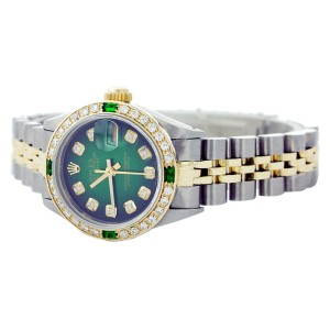 Rolex Datejust 6917 Yellow Gold Diamond and Emerald 26mm Womens Watch