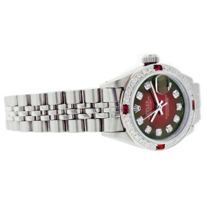Rolex Datejust 6917 Stainless Steel Red Vignette Dial Ruby & Diamond 26mm Womens Watch