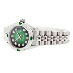 Rolex Datejust 6917 Stainless Steel Green Vignette Dial Emerald & Diamond 26mm Womens Watch