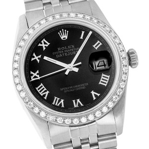 Rolex Mens Datejust Stainless Steel Black Roman Dial Diamond Bezel 36mm Watch