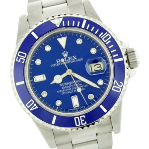 Rolex Submariner 16610 Stainless Steel & Blue Diamond Dial 40mm Mens Watch