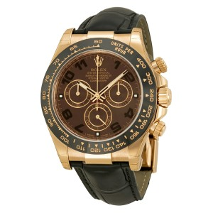 Rolex Cosmograph Daytona Chocolate Dial Ceramic Bezel Automatic Black Leather Men's Watch