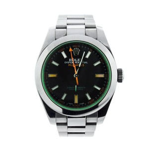 Rolex Milgauss 116400V Green Crystal Steel 40mm Watch