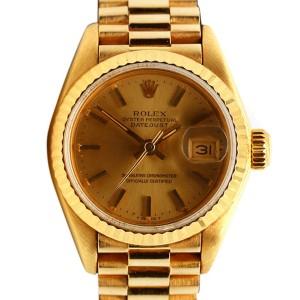 Womens Rolex 18K Yellow Gold DateJust 28mm Watch