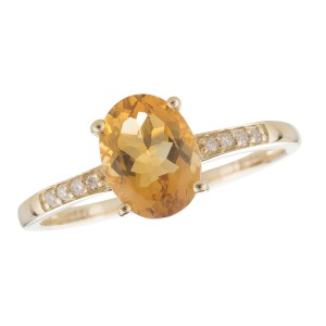 14K Yellow Gold Citrine and Diamond Birthstone Ring Size 7