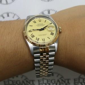 Rolex Datejust Buckley Dial 2-Tone 36mm Jubilee Watch 16013
