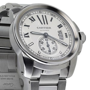 Calibre de Cartier Silver Dial Stainless Steel Automatic Skeleton Men's Watch