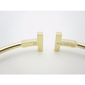 Tiffany & Co. 18k Yellow Gold Diamond T Wire Bangle Bracelet