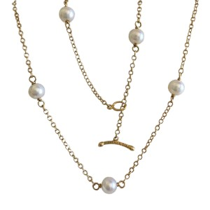 Tiffany Co. Elsa Peretti Gold & Pearl Necklace