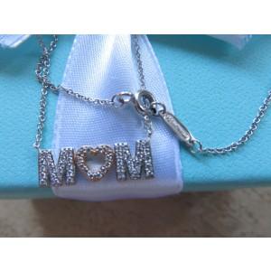 Tiffany & Co. White Gold Diamond MOM Pendant Necklace