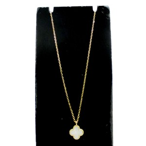 Van Cleef & Arpels 18K Yellow Gold Mother of Pearl Sweet Alhambra Necklace