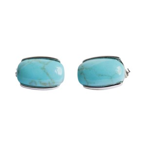 Sterling Silver & Oval Turquoise Cabochon Earrings