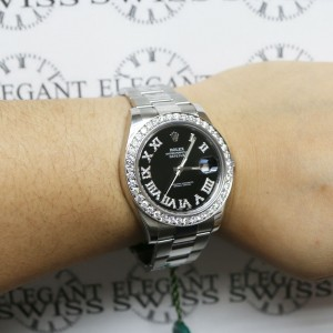 Rolex Datejust II 41MM Oyster 116300 w/Roman Diamond Dial & Bezel Box Papers