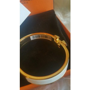 Hermes White Enamel Gold H Clic Clac Bangle Bracelet