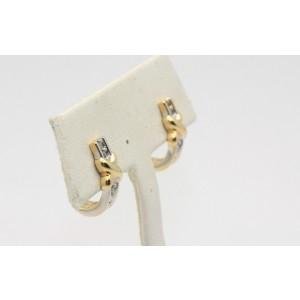 14k Two-Tone Diamond Half Hoop Earrings
