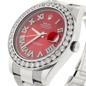 Rolex Datejust II 41MM Steel Oyster Mens Watch 116300 w/MOP Diamond Dial & Bezel
