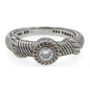 Judith Ripka 925 Sterling Silver Cubic Zirconia Rope Cable Ring