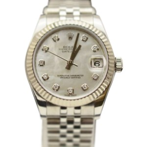 Rolex 178274 Datejust 18K Bezel Gray MOP Diamond Dial 31 mm Watch