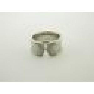 Cartier 18K White Gold Double C Diamond Motif Ring Size 7.25