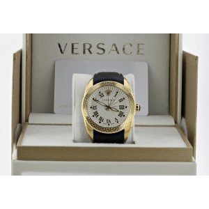 Versace V Sport Mens Leather Band Watch 42mm