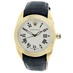 Versace V Sport Gold Tone Mens Leather Band Watch