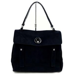 Saint Laurent 871824 Navy Blue Suede Leather Shoulder Bag
