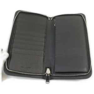Saint Laurent YSL Black Leather Zippy Wallet Zip Around Continental 861977
